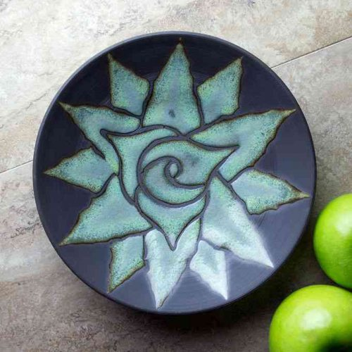 black ceramic bowl with agave flower by Jim Sudal